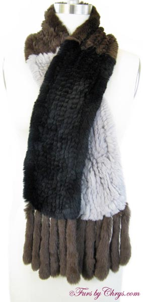 Knitted Sheared Rex Rabbit Scarf Crossed image