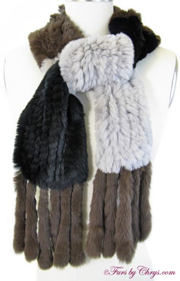 Knitted Sheared Rex Rabbit Scarf Tied image