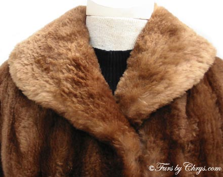 Vintage Sheared Raccoon Fur Coat Collar Close Up image